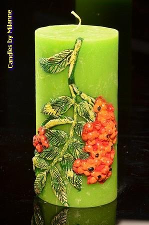 Rode Bessen, Kaars Rond, H: 15 cm