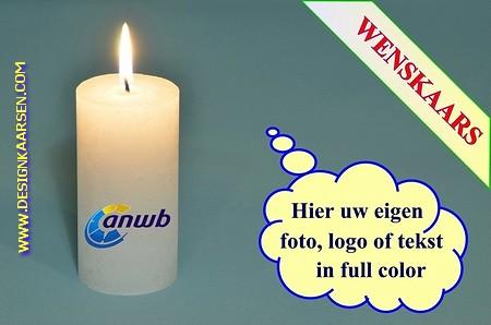 Wenskaars met eigen foto/ tekst / logo, Ø 5cm, H:10 cm (W2)