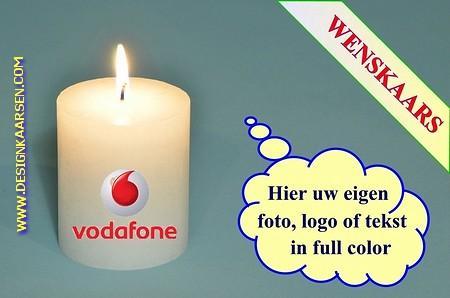 Wenskaars met eigen foto/ tekst / logo, Ø 6cm, H:12 cm (W3)