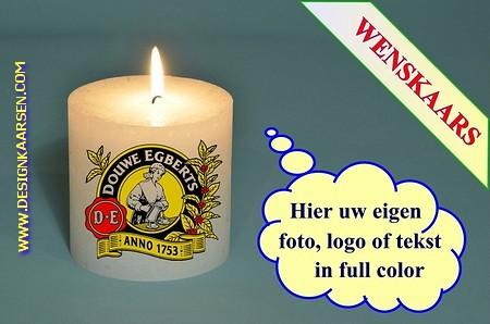 Wenskaars met eigen foto/ tekst / logo, Ø 10cm, H:10cm (W5)