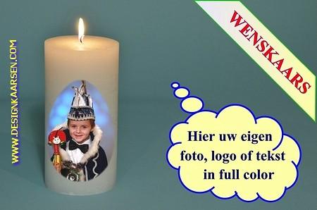 Wenskaars met eigen foto/ tekst / logo, Ø10cm, H:20 cm (W7)