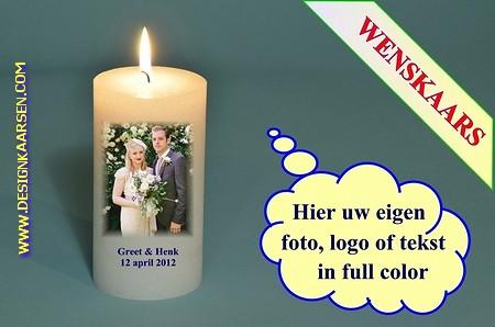 Trouwkaars met eigen foto/ tekst / logo, Ø 7cm, H:20 cm -W4