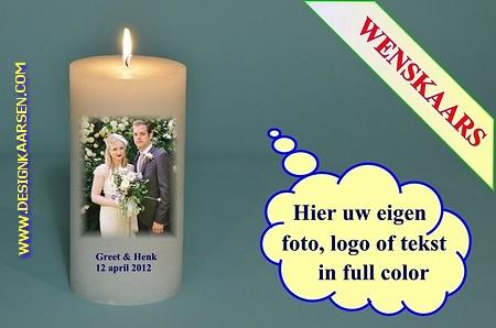 Trouwkaars met eigen foto/ tekst / logo, Ø10cm, H:20 cm -W7