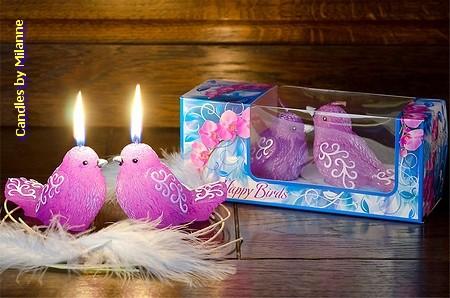Vogel Kerze VIOLET (2 Stück)