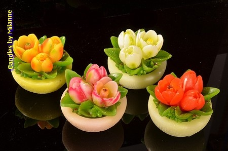 4x Blumentopf Kerze Tulip 8x6 cm
