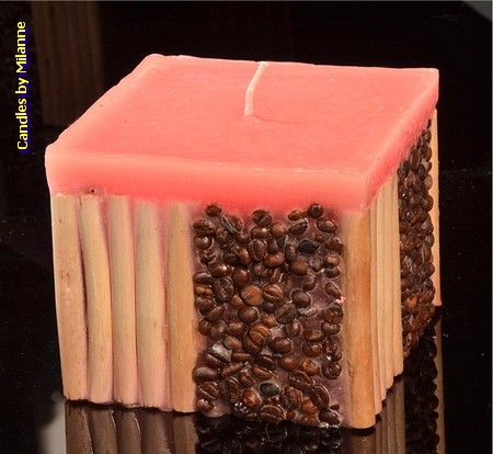 Koffie bamboe kaars ROZE