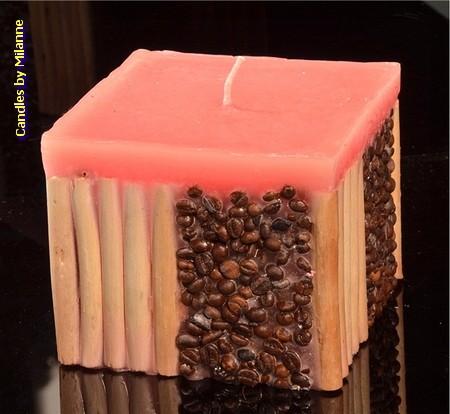Kaffee / Bamboo Kerze, PINK