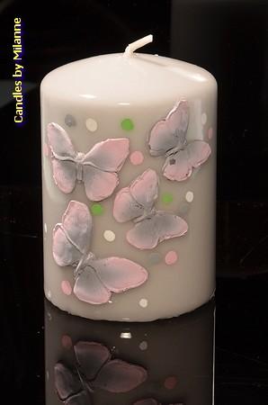Vlinderkaars rond, GRIJS, hoogte 10 cm