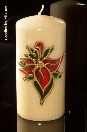 Glas in Lood kaars, Rond, H: 14 cm - Kerst