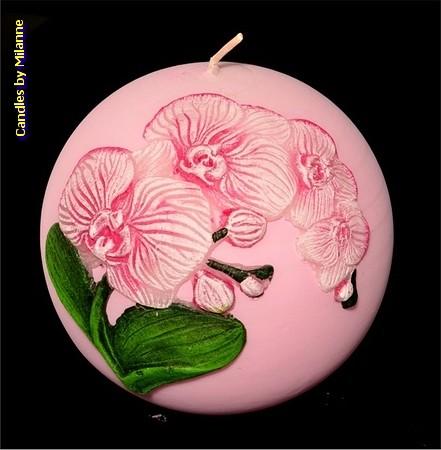 Orchidee Kerze, kugel, 10 cm, PINK