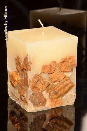 Kaars met echte stenen, Vierkant, 10x7,5x7,5 cm