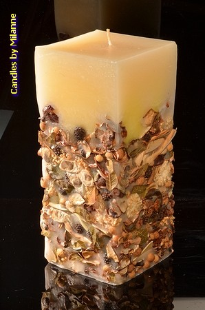 Herbst Quadra Kerze, mega XXXL, H: 26 cm
