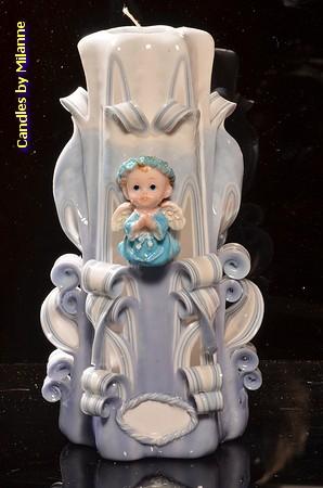 Geboorte Kaars, handgesneden, 23 cm 51609