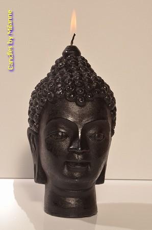 Budha kaars, mat zwart, H: 15 cm