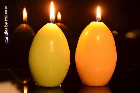 Paasei kaarsen GEEL EN GROEN (set van 2)