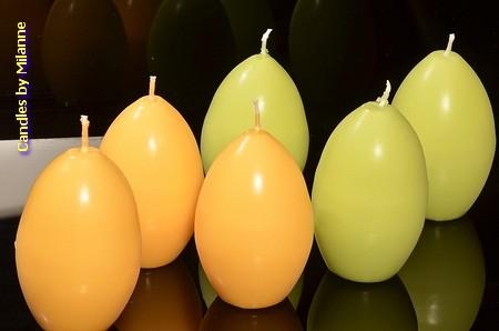 Paasei kaarsen GEEL EN GROEN (set van 6)