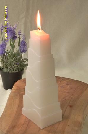 Toren Kaars, GLANS WIT, hoogte: 21cm