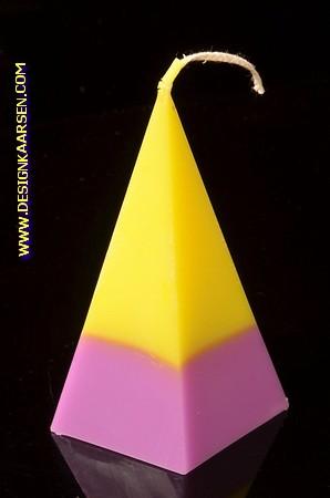 5 kantige Piramide Kaars, GEEL-LILA, hoogte 11 cm