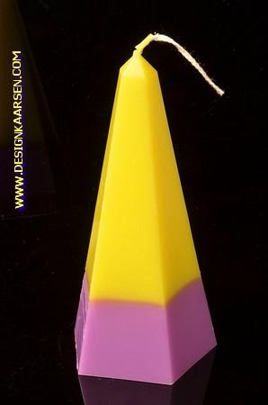 Obelisk Kaars klein GEEL-LILA, hoogte: 16 cm