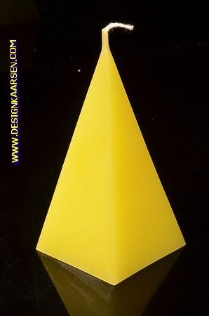 5 kantige Piramide Kaars, GEEL, hoogte 11 cm