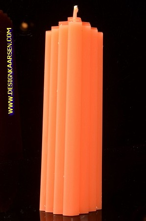 Marina kaars, GLANZEND ORANJE, hoogte: 21 cm