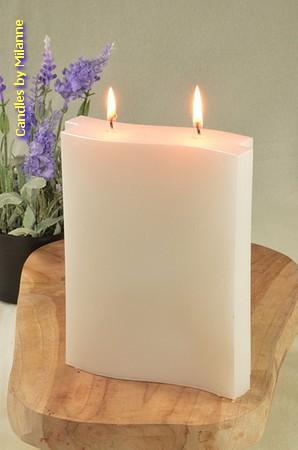 Adamo Kaars met 2 pitten, PERL NMAT WIT, hoogte: 17 cm