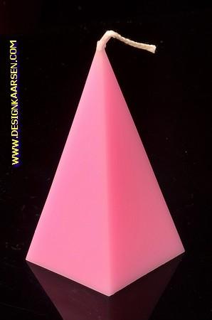 5 eckige Pyramide Kerze, GLANZ PINK, höhe: 11 cm