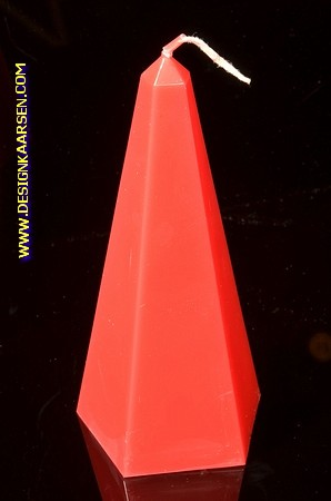 Obelisk Kaars klein ROOD, hoogte: 16cm