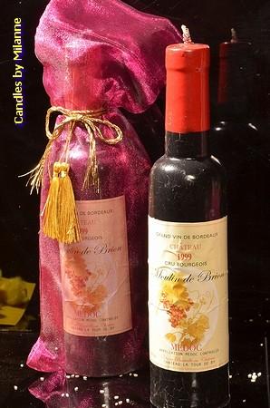 Fles Wijn Kaars, hoogte: 28 cm