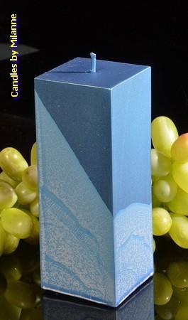 Kwadrant kaars, BLAUW METALLIC, hoogte 16 cm