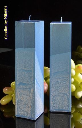 Kwadrant kaarsen, BLAUW METALLIC, hoogte 22 cm, 2 STUKS