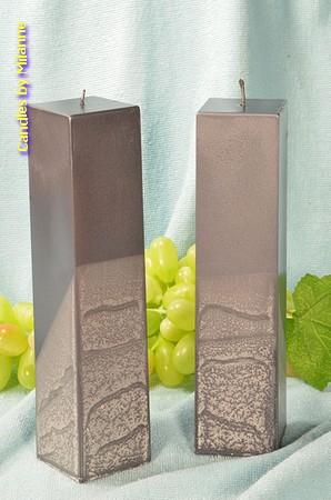 Kwadrant kaarsen, GRIJS PERL MAT, hoogte 22 cm, 2 STUKS
