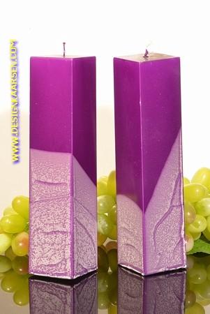 Kwadrant kaarsen, LILA METALLIC, hoogte 22 cm, 2 STUKS