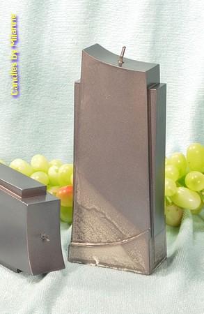 Design kaars, GRIJS PERL MAT, hoogte 18 cm