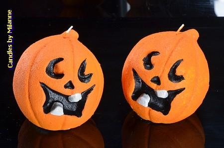 Halloween Pompoen kaars, 2 stuks 7x7x7 cm