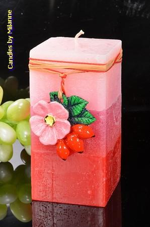 Wilde rozen, geurkaars Rechthoek, H: 14 cm
