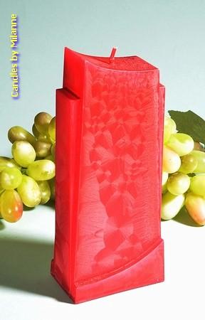 Design kaars, ROOD POLYMICO, hoogte 18 cm