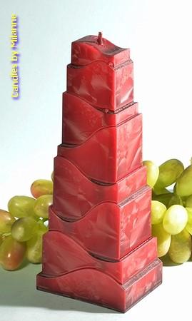 Turm Kerze, BORDEAUX ROT POLYMICO, H: 21 cm
