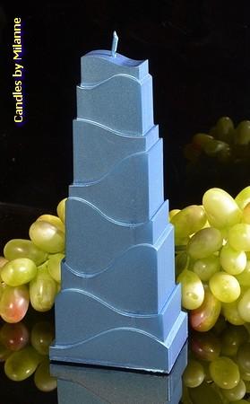 Turm Kerze, BLAU METALLIC, höhe: 21 cm