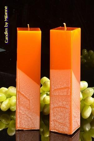 Kwadrant kaarsen, KOPER METALLIC, hoogte 22 cm, 2 STUKS