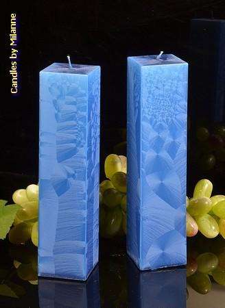 Kwadrant kaarsen BLAUW POLYMICO, hoogte 22 cm, 2 STUKS