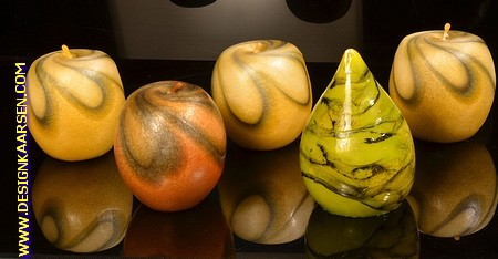 3x Apfel Kerze + 1x Birne Kerze 8 cm