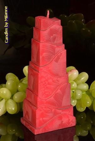Toren Kaars, ROOD POLYMICO, h: 21cm