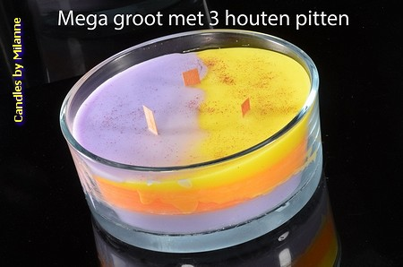 TRI-COLORE+ Wood-Wick kaars in RONDE XXLschaal met  3 pitten