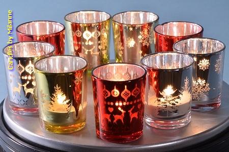 9x luxe Kerstkaars in glas  5 cm H: 6 cm