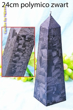Obelisk Kaars XXL ZWART POLYMICO, hoogte: 24 cm