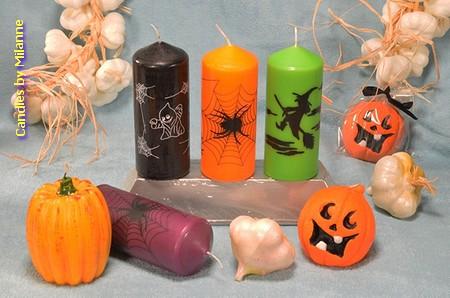Set van 6 verschillende HALLOWEEN kaarsen (+ gratis nep spin