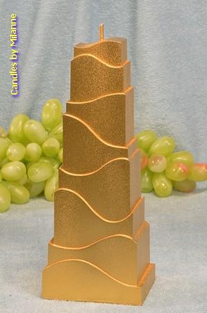 Turm Kerze, GOLD, H: 21 cm