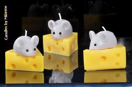 Muis met kaas kaars (set van 3 stuks)