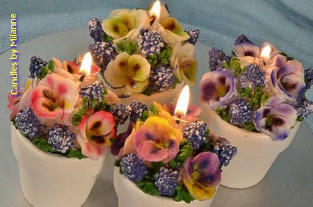 4x Bloembak kaars (viooltjes)  in pot